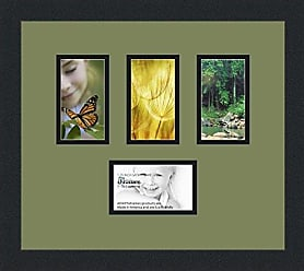 Art to Frames Collage Photo Frame Double Mat with 4 - 3x5 Openings and Satin Black Frame
