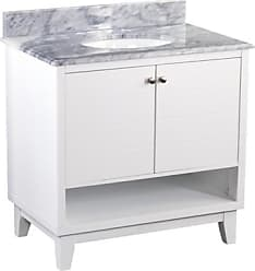 Ashley Furniture Gray Marble Bathroom Vanity and Sink, White/Gray