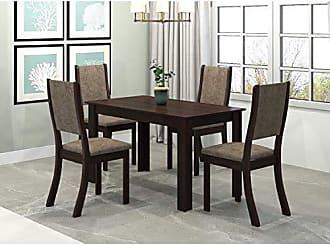 Viero Conjunto Sala de Jantar Mesa Violeta 4 Cadeiras Kiara Viero Choco/Canela