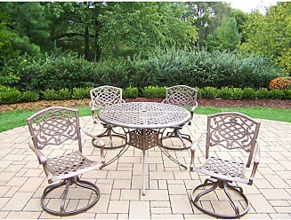 Oakland Living Outdoor Oakland Living Elite Cast Aluminum 5 Piece Round Swivel Patio Dining Set No Cushion - 1102T-2104S4-5-AB