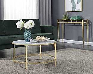 Convenience Concepts 413477WMG Coffee Table, White Faux Marble/Gold Frame