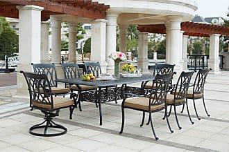 DARLEE Outdoor Darlee Capri 9 Piece Aluminum 92 in. Rectangular Patio Dining Set - 201660-9PC-60XL