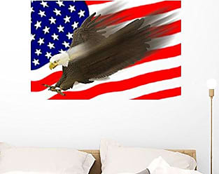 Wallmonkeys FOT-2573642-36 WM64397 Flying Eagle & Us Flag Peel and Stick Wall Decals (36 in W x 24 in H), Large