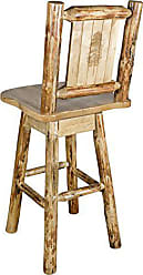 Montana Woodworks Glacier Country Collection Barstool with Back & Swivel, Laser Engraved Pine Tree Design