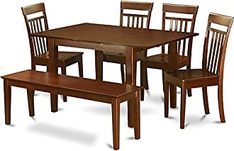East West Furniture PSCA6-MAH-W 6 Pc dinette set-Kitchen Table and 4 Dining Chairs and Dining Bench