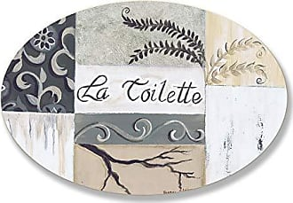 The Stupell Home Décor Collection The Stupell Home Decor Collection La Toilette Tan and Black Patchwork Oval Bathroom Wall Plaque