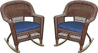 Jeco W00205R-C_2-FS011 Rocker Wicker Chair with Blue Cushion, Set of 2, Honey
