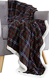 Trademark Global Bedford Home 61A-01690 Fleece Sherpa Blanket Throw-Plaid Green/Red