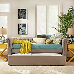 Weston Home Crawley Tufted Upholstered Daybed Beige Linen - E208B-ABL(3A)[BD]