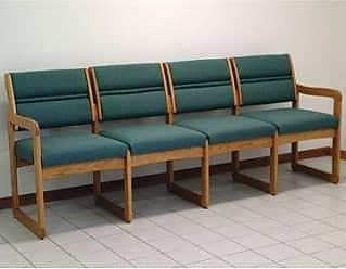 Wooden Mallet DW2-4 Valley 4-Seat Sofa, Medium Oak/Foliage Green
