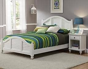 Home Styles Bermuda White Queen Bed and Night Stand by Home Styles