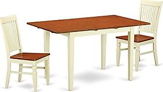 East West Furniture NOWE3-BMK-W Norfolk Kitchen and Dining Room Sets 3 Pieces Buttermilk & Cherry