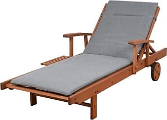 Ashley Furniture Eucalyptus Wood Lounger with Grey Cushion, Gray/Brown