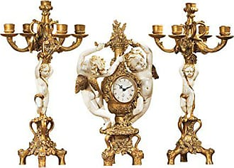 Design Toscano The Cherubs Harvest Clock and Candelabra Ensemble, 18 Inch, Complete Set of 3 Pcs, Polyresin, Gold and Ivory