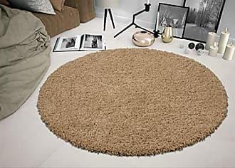 Ottomanson SHG2769-ROUND Shag Collection Area Rug, 53 Round, Beige