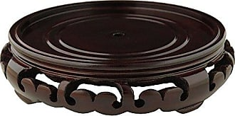 Oriental Furniture Rosewood Carved Pedestal Stand - (Size 2 in. Base Diameter)