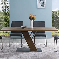 Armen Living LCFUDIWATO Fusion Dining Table with Brown and Brushed Stainless Steel Finish