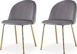 Overstock M60 Chair, Gold Finish, Set Of Two (Grey)