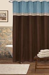 Lush Décor Terra Shower Curtain, Blue/Chocolate, 72 x 72
