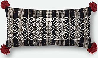 Loloi P0642 Pillow Cover Only//No Fill Natural//Black 13 x 21