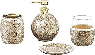 Madison Park Mosaic Bathroom Accessories Set, 4 Piece Bath Accessory Sets With Gold Soap Dispenser, Toothbrush Holder, Tumbler And Ring Tray