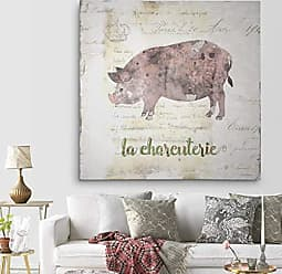 WEXFORD HOME Golden Cuisine Pig Gallery Wrapped Canvas Wall Art, 40x40