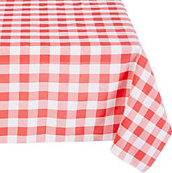 LA Linen Checkered Overlay Tablecloth 58x58, Coral, 58 x 58