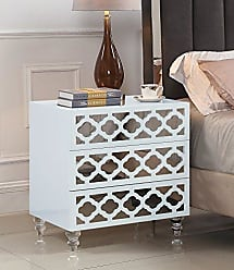 Iconic Home Bergamo Nightstand Side Table with 3 Self Closing Mirrored Drawers Lacquer Acrylic Legs, Modern Contemporary, White