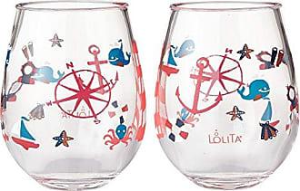 "NWT NEW LOLITA ""PEACOCK"" ACRYLIC 16 OZ STEMLESS WINE GLASS"