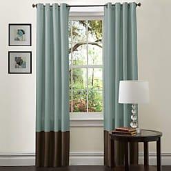Lush Décor Prima Window Curtain Panel Pair, 84 inch x 54 inch Blue/Chocolate, Set of 2
