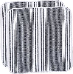 Now Designs Scrub-It Dishcloth Scrubbers, Set of Six, Black Stripe