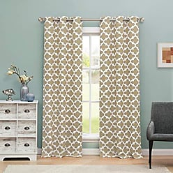 Duck River Textile Blackout365 Kyra Heavy Geometric Insulated Blackout Room Darkening Curtain Set of 2 Panels, 38 X 84 Inch, Taupe, 2 Piece