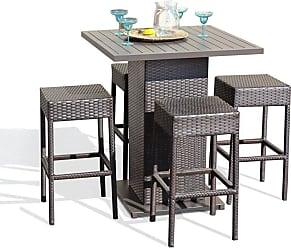 TK Classics Napa Wicker 5 Piece Outdoor Pub Table Set, Patio Furniture - NAPA-PUB-BACKLESS-4