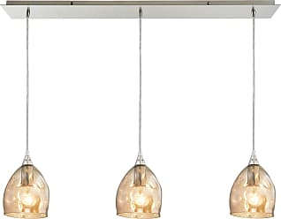 Elk Lighting Niche 3 Light Pendant In Satin Nickel And Champagne Plated Glass