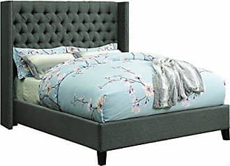 Scott Living Benicia Upholstered Queen Bed with Demi-wings and Button Tufting Grey