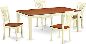 East West Furniture QUPL5-WHI-W 5 Piece Table and 4 Chairs Set