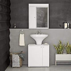 Politorno Gabinete de Banheiro Lapa e Armário Espelho Branco