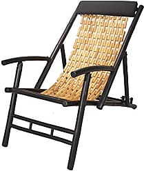 Heather Ann Creations Bamboo Linked Folding Sling Chair with Arms and Head Cushion, Black with Natural Links