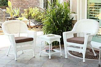 Jeco W00206_2-CES007 3 Piece Wicker End Table Set with with Brown Chair Cushion, White
