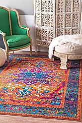 nuLOOM RZBD57A Persian Fancy Velva Area Rug, 6 7 x 9, Orange