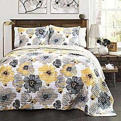 Lush Décor Lush Decor Leah Quilt Floral 3 Piece Reversible, Full/Queen, Yellow & Gray
