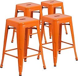 Flash Furniture 4 Pk. 24 High Backless Orange Metal Indoor-Outdoor Counter Height Stool with Square Seat