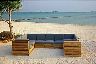 Willow Creek Designs Pacific 10 Piece Teak Patio Conversation Set with Sunbrella Cushions