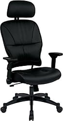 Office Star SPACE Seating Eco Leather Seat and Back, 4-Way Adjustable Flip Arms and Gunmetal Finish Base Executives Chair with Adjustable Headrest, Black