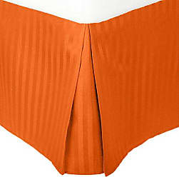 Home City Inc. Superior 1500 Series 100% Microfiber Pleated Bed Skirt Stripe, Twin XL, Orange