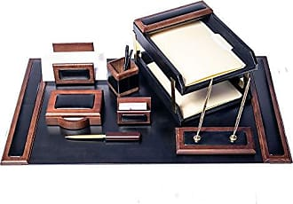 Dacasso Walnut and Black Leather Desk Set, 10-Piece