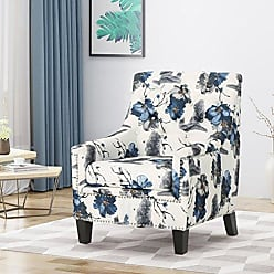 Christopher Knight Home 305567 Paul Fabric Tufted Club Chair, Print, Gray