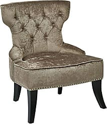 Office Star AVE SIX Colton Button Tufted Back Hourglass Chair with Nailhead and Piping Accents, Brilliant Otter