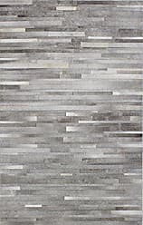 Bashian Santa Fe Collection H16 Hand Stitched Leather Area Rug, 5x8, Grey