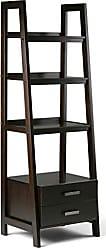 Simpli Home Simpli Home 3AXCSAW-06-BR Sawhorse Solid Wood 72 inch x 24 inch Modern Industrial Ladder Shelf with Storage in Dark Chestnut Brown